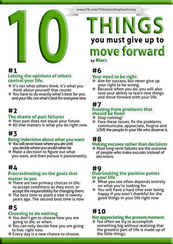 10 things you must do to move forward: