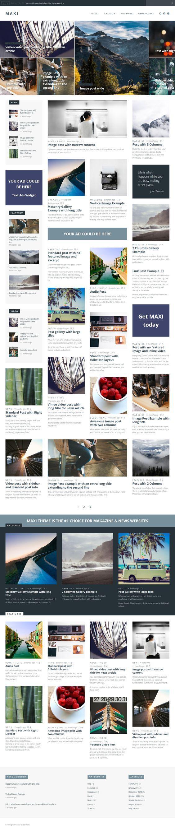 Maxi - News & Magazine Wordpress Theme #website Download: http://themeforest.net/item/maxi-news-magazine-theme/12645893?ref=ksioks