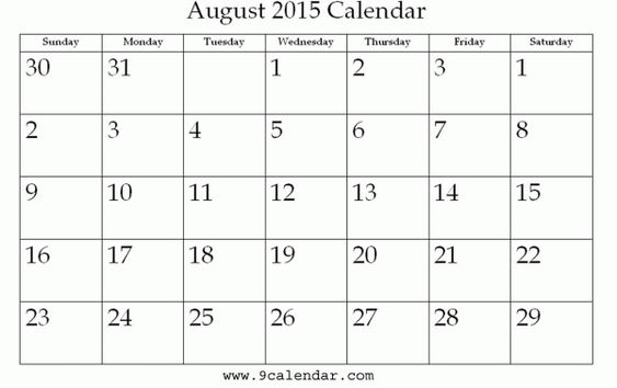 Printable Monthly Calendar of August 2015 2016 2017 ...  Printable Month...