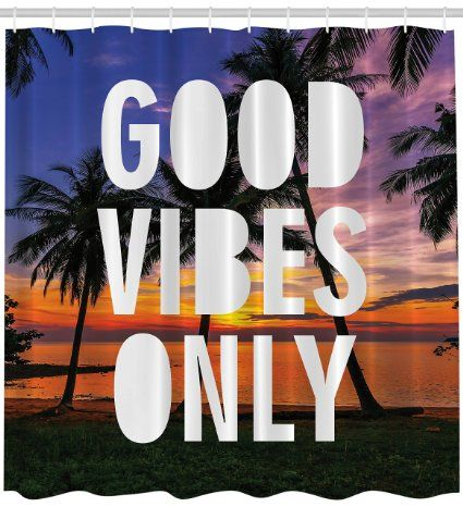 Tropical Decor Good Vibes Only Inspirational Funny Quote Palms Ocean Purple Blue Orange Sunset Island Beach Home Decor Bathroom Art Prints Quotes Print Fabric Aqua Shower Curtain Machine Washable: