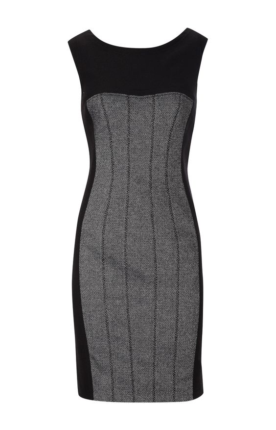 Karen Millen Feminine Textured Tailor Dress Black and White [#KMM016] - $90.15 :