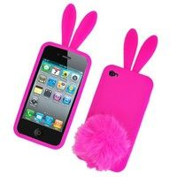 Hot Pink Bunny with Fur Tail Snap on Soft Silicon Skin Cover Case for Apple iPhone 4 / 4S