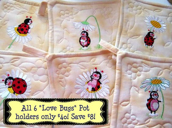 All 6 Love Bugs Potholders 40 dollars by FreckleDots on Etsy, $40.00