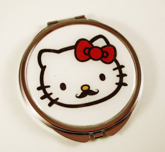 Undercover Kitty  Hello Kitty Mustache HUGE by TwistedMindofMine, $7.50