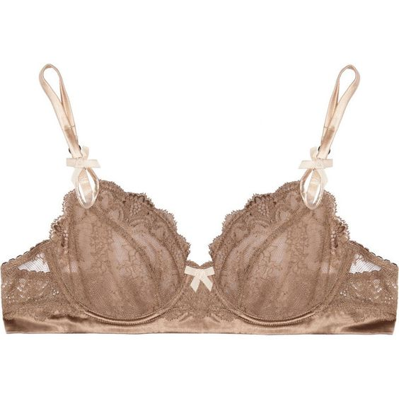Elle Macpherson Intimates Rita stretch-lace and satin bra ($54) ❤ liked on Polyvore