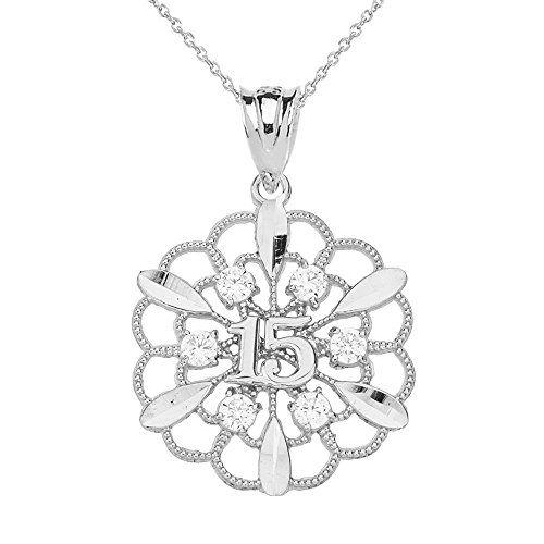 10k White Gold Filigree Star Design 15-Anos Quinceanera Pendant Necklace