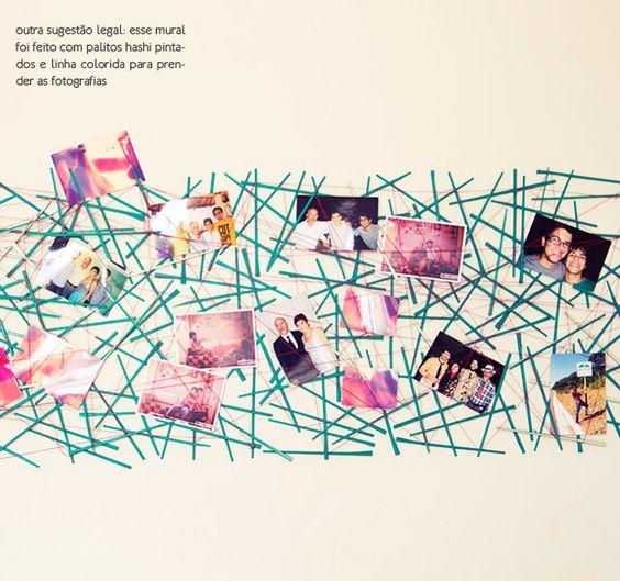 photo display made with painted chopsticks #decor #photos #DIY