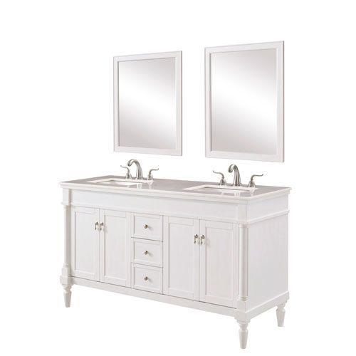 Elegant Lighting Lexington Antique White 60 Inch Vanity Sink Set