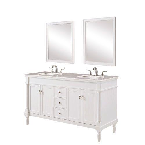 Elegant Lighting Lexington Antique White 60 Inch Vanity Sink Set