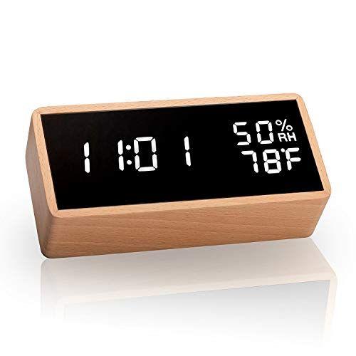 Meross Led Wecker Digitaler Wecker Tischuhr Datum Temperatur Und Luftfeuchtigkeit In 2020 Led Uhr Uhrideen Led Wecker