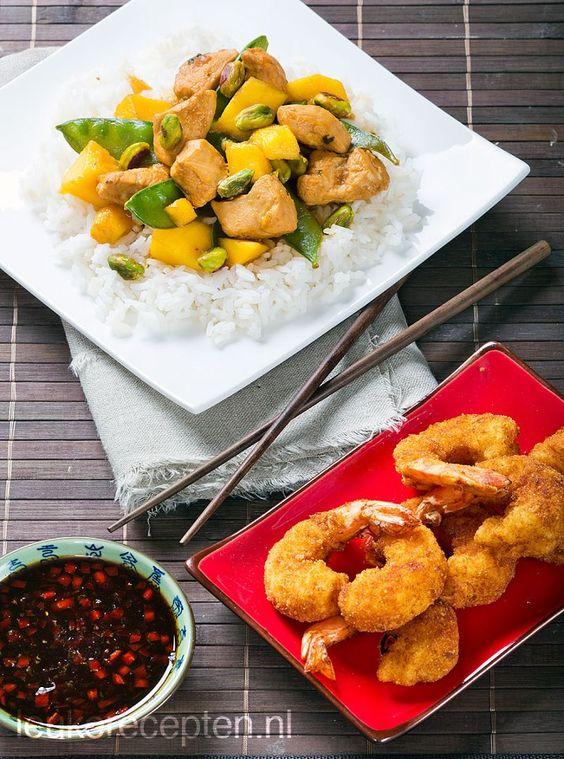 Het resultaat van de sneakpreview van vrijdag.  Kip met mango http://www.leukerecepten.nl/recepten/554-kip-met-mango  Gepaneerde garnalen http://www.leukerecepten.nl/recepten/553-gepaneerde-garnalen