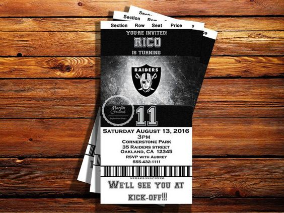 Check out this item in my Etsy shop https://www.etsy.com/listing/460688268/oakland-raiders-ticket-birthday