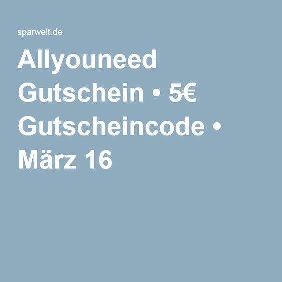 Allyouneed Gutschein • 5€ Gutscheincode • März 16