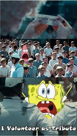 OMG, wouldn't it be so funny if there was a Spongebob episode where Spongebob and sandy go into the hunger games (they would be from district 4, obviously)? We need to make this happen!!!!