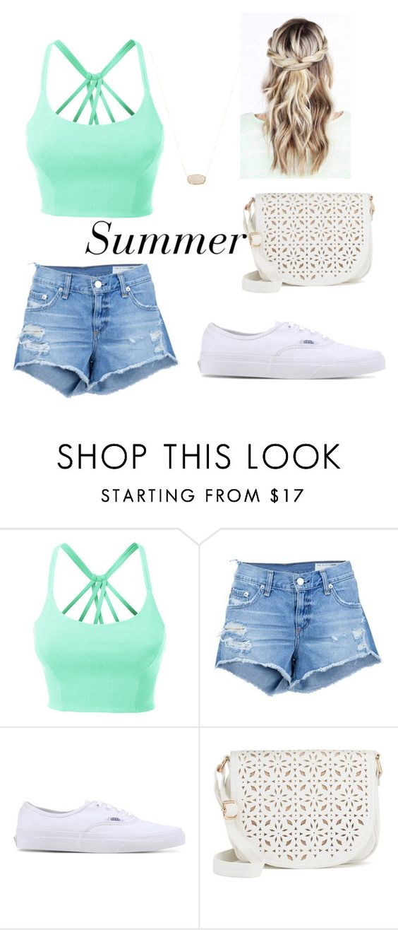 """Summer"" by abybissereth ❤ liked on Polyvore featuring LE3NO, rag & bone/JEAN, Vans, Under One Sky and Kendra Scott"