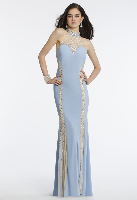 Camille La Vie Illusion Beaded Halter Prom Dress
