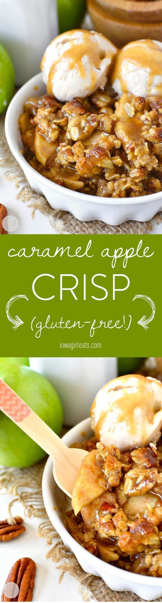 Gluten-free Caramel Apple Crisp with Easy Caramel Sauce is decadent and delicious. Serve warm with a scoop of ice cream for a heavenly fall treat! #thinkfisher | iowagirleats.com