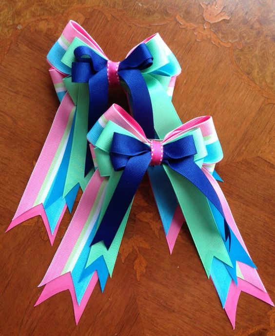 Horse Show Hair Bows hair accessory with by BowdanglesShowBows, Beautiful in Leadline and walk-trot classes expecially.  $30.00   Click on picture for more details.