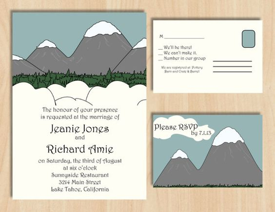 Snowy Mountain Wedding Invitation & Reply Card - Custom Digital Design via Etsy