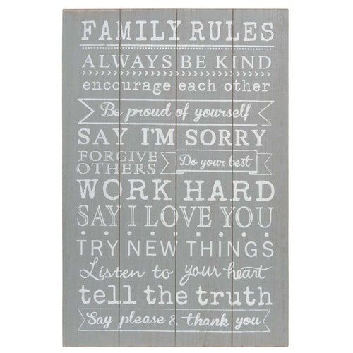 Picture from wood 40 x 60 cm FAMILY RULES