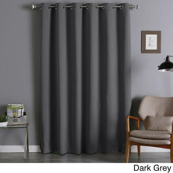 Aurora Home Wide Thermal Insulated 96-inch Blackout Curtain Panel (Dark Grey), Size 80 x 95 (Polyester, Solid)