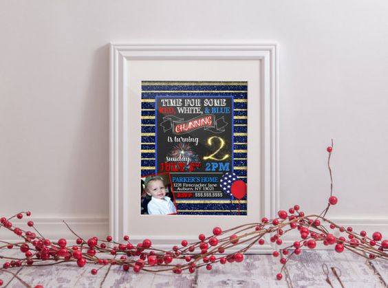 July 4th birthday party invitations little by CustomPrintablesNY