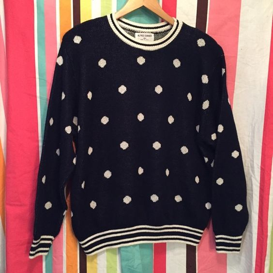 Vintage navy polkadot sweater 2X Awesome navy with white polkadot sweater with the striped trim a long neck cough and ham line by Alfred Dunner size to ask made of acrylic/nylon measures 52 inches around and 26 inches in length the sweater has shoulder pads that can easily be removed if you do not want them. Vintage Sweaters Crew & Scoop Necks