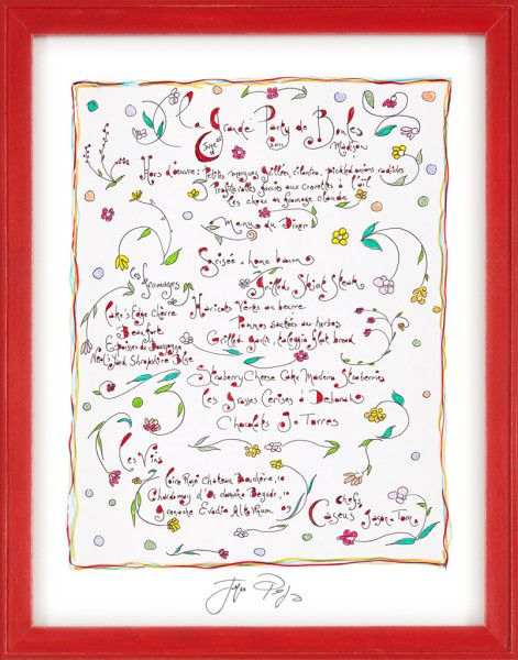 Signed, Hand-Drawn Menu: La Grande Party de Boules by Jacques Pepin