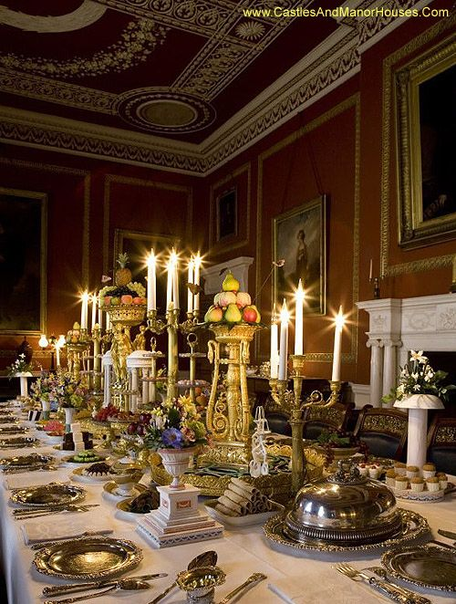 castlesandmanorhouses:Ideas for Christmas. The dining room at Attingham Park, set for a Regency-era dinner. Attingham Park, near Atcham, Shropshire, England.  http://www.castlesandmanorhouses.com/photos.htm Attingham Park is a Neoclassical country house and estate, finished in 1785. The Attingham Estate, comprising the mansion and some 650 acres, was gifted to the National Trust in 1947. The house is a Grade I listed building. Attingham Park is now the regional headquarters of the National…