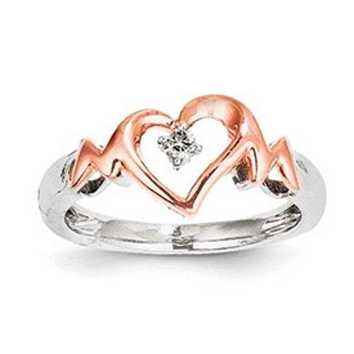 Sterling Silver &14k Rose Gold Diamond Heart Ring QR5844