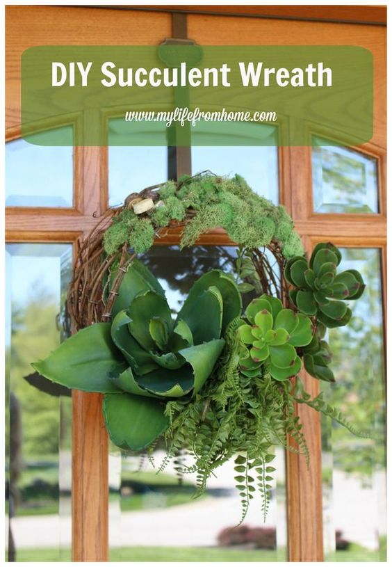 DIY Succulent Wreath Tutorial for a Door Wreath.  Easy to design and simple to put together.  Looks so real!  by www.mylifefromhome.com