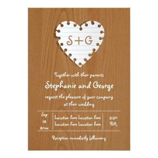 """Paper heart on wood with monogram wedding 5"""" x 7"""" invitation card"""