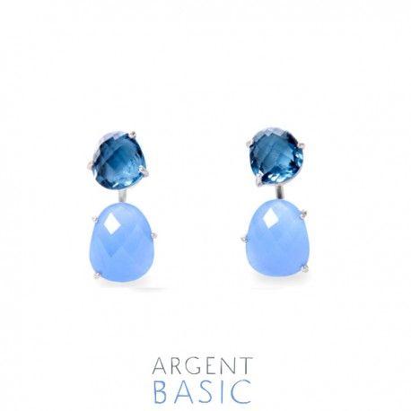 Pendientes dobles de plata y piedras azul.