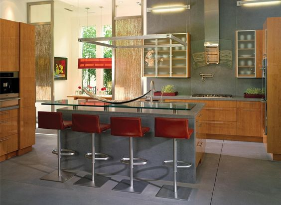 Amusing Open Kitchen Design : Amusing Open Kitchen Design With Red Kitchen Stools And Glass Table Design