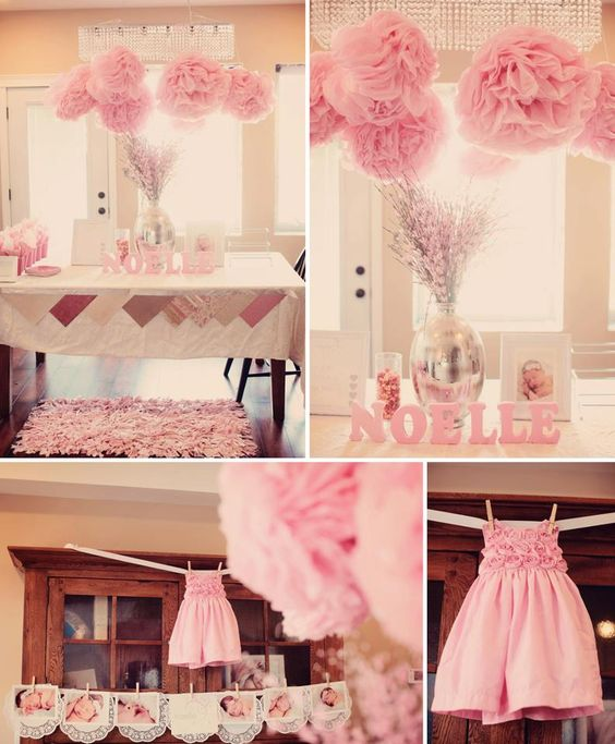 Gift table sanai get pink letters baby pink white poms ideas for sanai baby shower - Pink baby shower table decorations ...