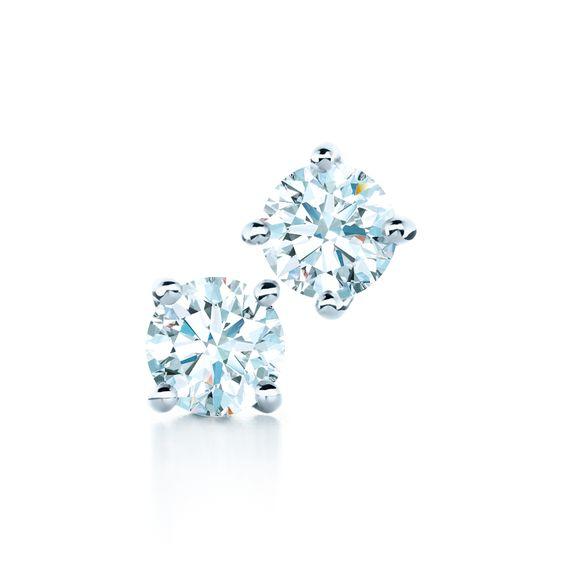 Always brilliant. Tiffany diamond earrings. #TiffanyPinterest #solitaireearrings #diamondstuds