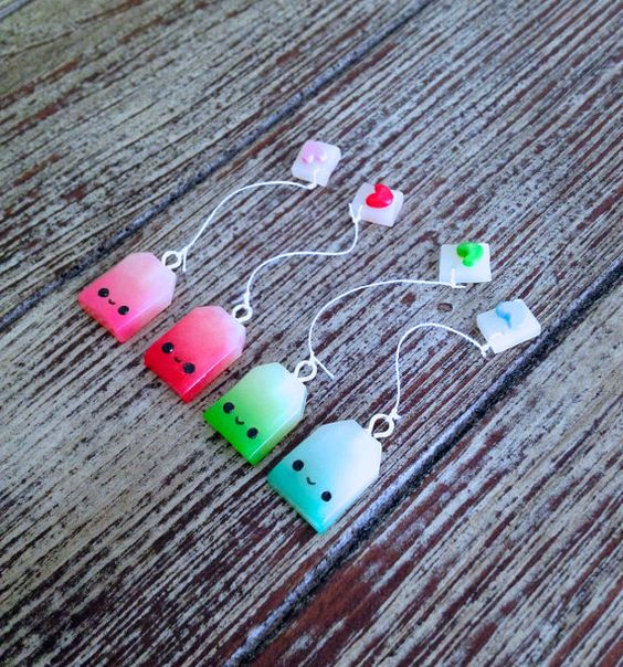 Listing includes 1 tea bag charm!  *chain length is 18 inches*  Made with love using polymer clay. Each piece is handmade which makes every design
