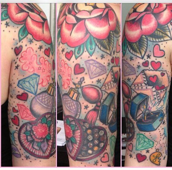 Romance girly stuff old school nautical sleeve for Girly arm sleeve tattoos
