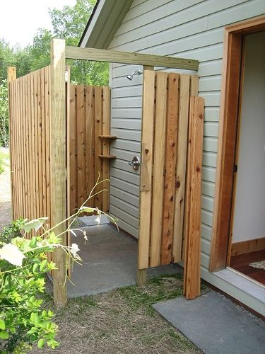 Diy outdoor shower gardens lakes and house for Diy outdoor shower surfboard