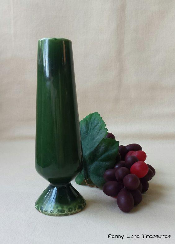 Vintage Green Bud Vase ~ Ceramic ~ Hand Made ~ Dark Green Glaze ~ 1970's ~ Art Deco Style ~ Art Pottery ~ Footed Vase ~ Pedestal by PennyLaneTreasures on Etsy