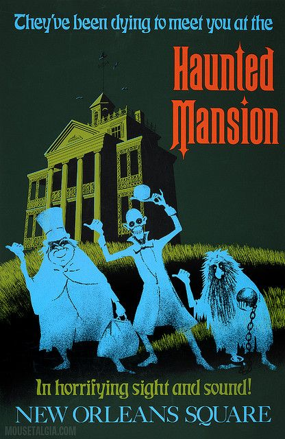 Haunted Mansion Posters that are in the entrance tunnels to Main Street Disneyland. After you go through the ticket line and see the giant floral Mickey head, you go through one of the tunnels to enter the park and these classic posters are on the walls in huge frames. I love them!