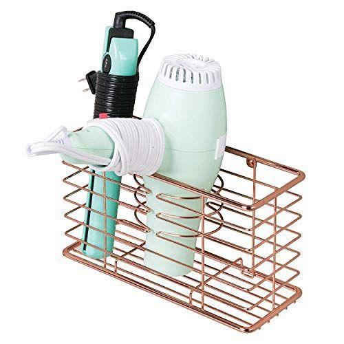 Flat Iron Hair Dryer mDesign Bathroom Wall Mount Hair Tools Organizer for Curling Iron Bronze