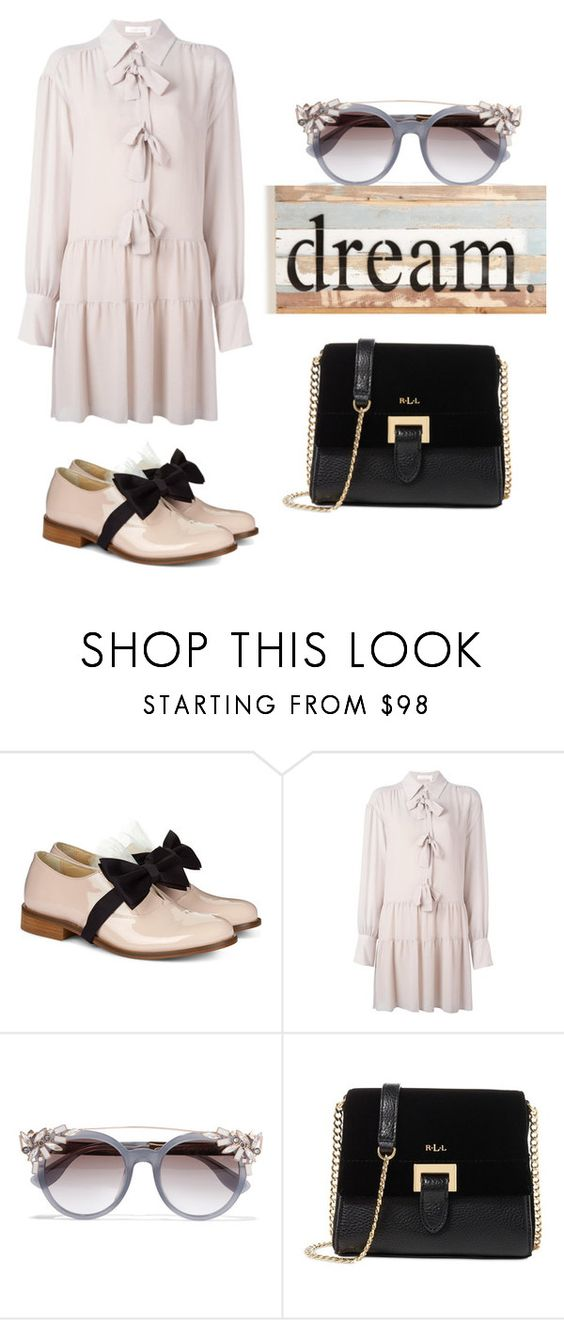 """""""bow dream"""" by janesmiley ❤ liked on Polyvore featuring Pokemaoke, See by Chloé, Jimmy Choo, Lauren Ralph Lauren and Sweet Bird & Co."""