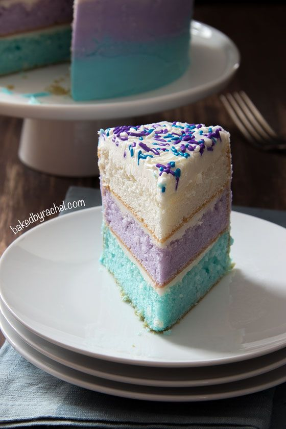 Disney Frozen inspired watercolor layer cake! Perfect for a Frozen party! recipe from @bakedbyrachel