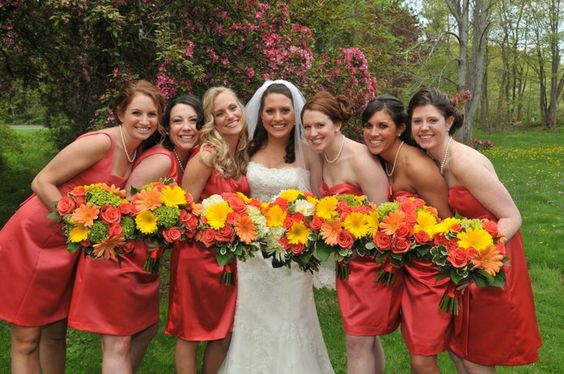 Bridal Party In Coral Dress With Coral Yellow And Green Flowers By Flore Fine Flowers