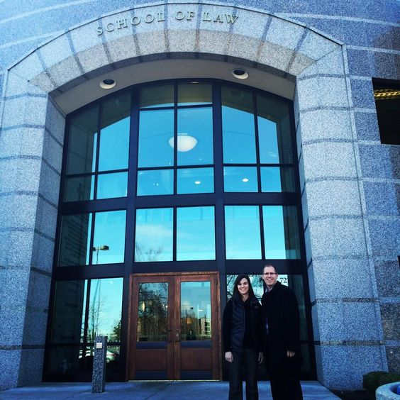 """Becki Wheeler and Ryan McNeice participate in panel discussion at Gonzaga Law School on the """"business of law""""."""