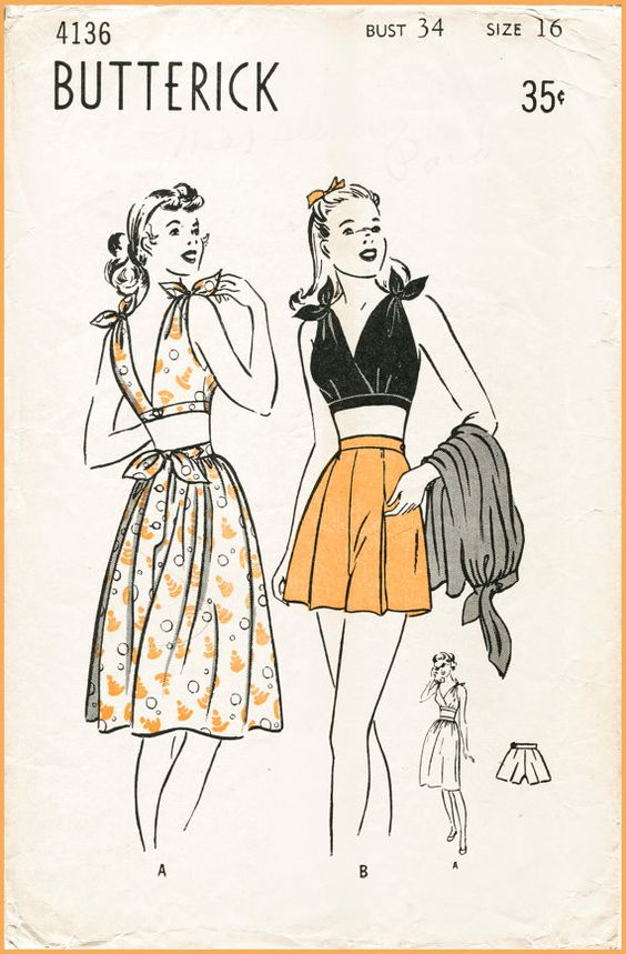 1940s 40s vintage sewing pattern Butterick 4136 playsuit beach romper tie shoulder crop top halter high waist shorts sun skirt bust 34 repro