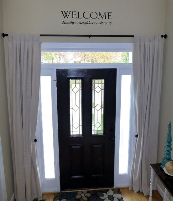 Curtains Over Windows By Front Door Or To Mimic