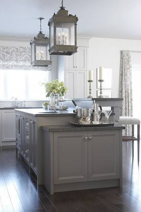 Perfect color combinations. Gray island. White cabinets. Dark floor.  Lanterns. Exchange