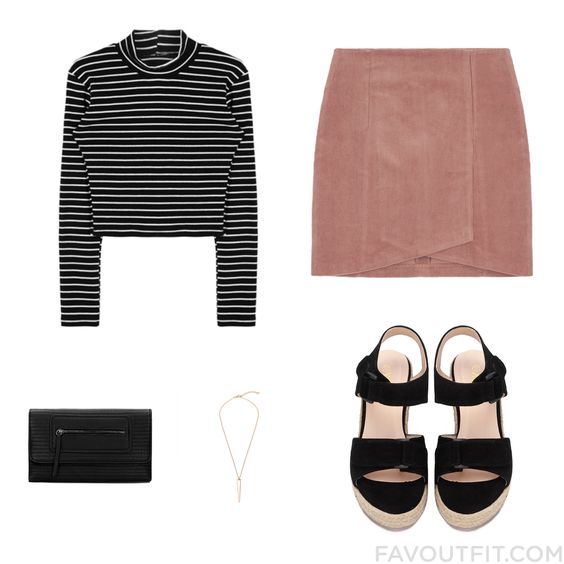 Ootd Inspiration Featuring Top Mini Skirt Sandals And Vegan Leather Purse From December 2016 #outfit #look